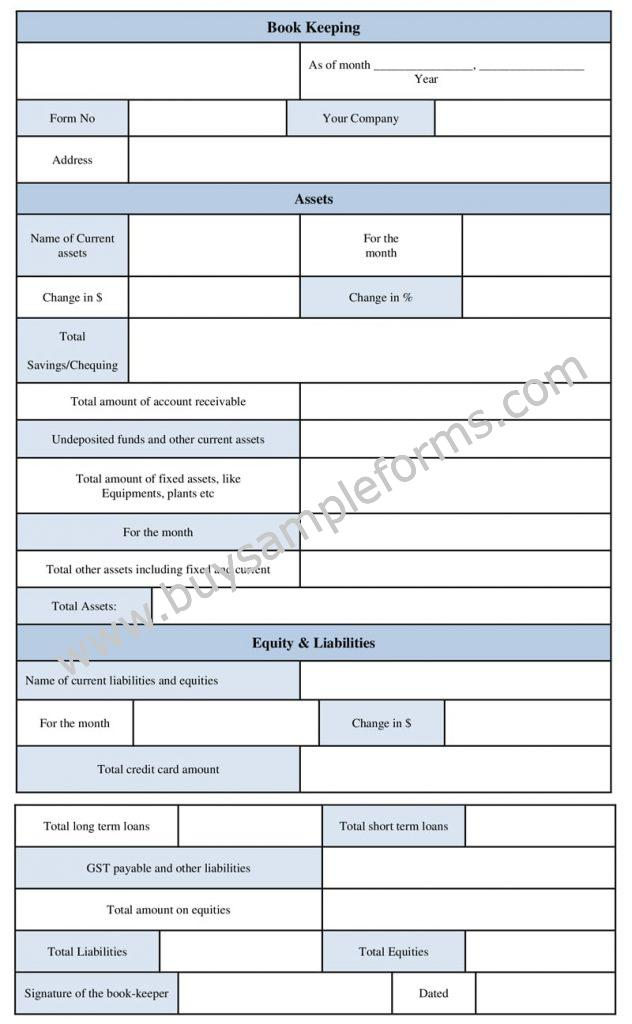 Printable Bookkeeping Form, Accounting Template, Bookkeeping Format