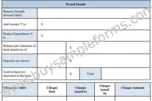 Printable Checking Account Reconciliation Form Template