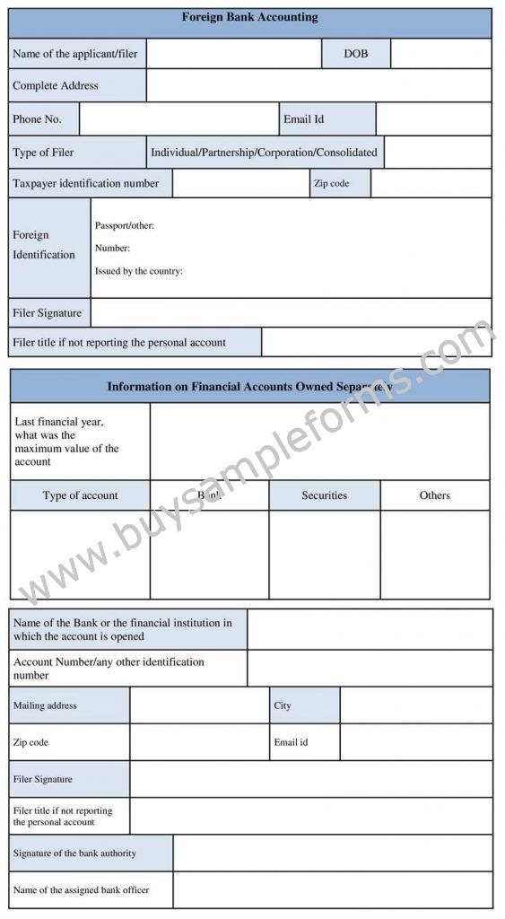 Foreign Bank Account Form Template, Sample Fbar Form
