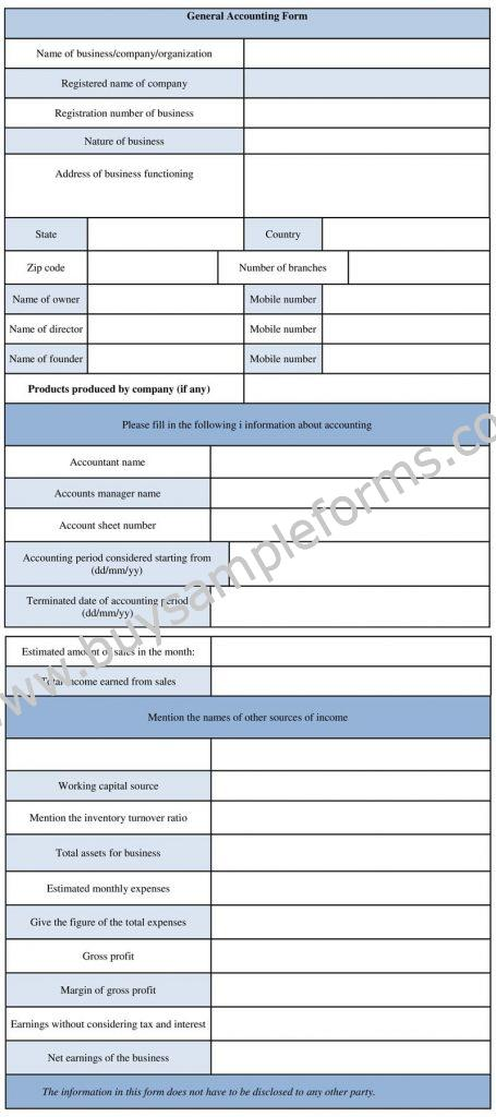 General Accounting Form, Accounting Business Form Template