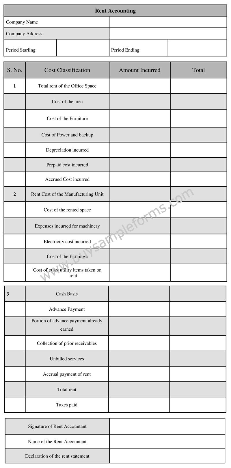 Printable Rent Accounting Form, Rental Accounting Template Sample
