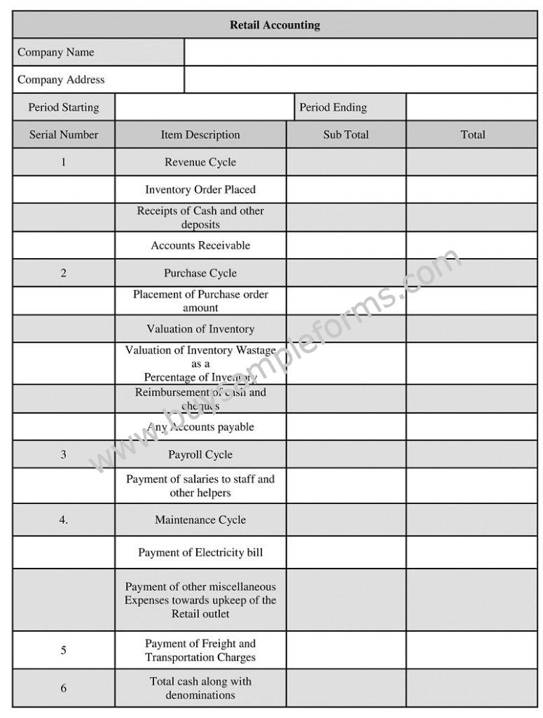 Retail accounting form format, retail store Accounting Template Word