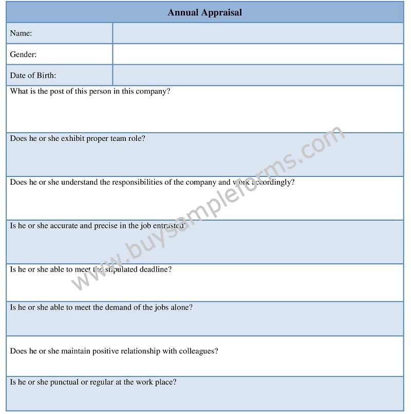 Annual Appraisal Form Template, Performance Appraisal Form Word Doc