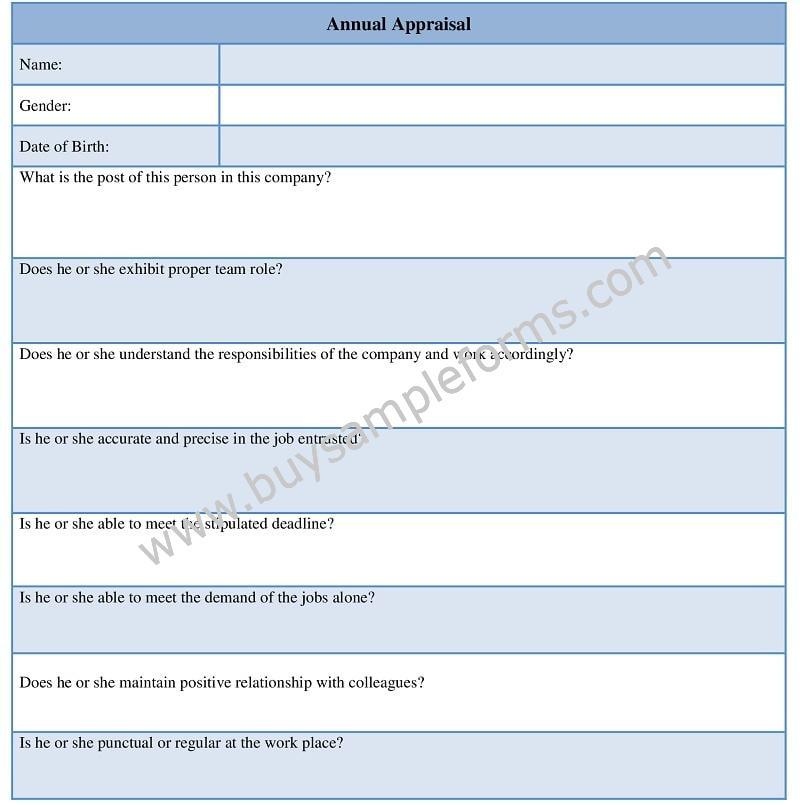 Annual Appraisal Form Template, Performance Appraisal Form Word Doc