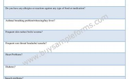 Printable Health Appraisal Form, Word Template, Sample