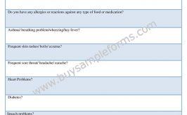 Printable Health Appraisal Form, Word Template, Sample
