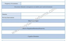 Functional Behavior Assessment Form Example | FBA Word Template