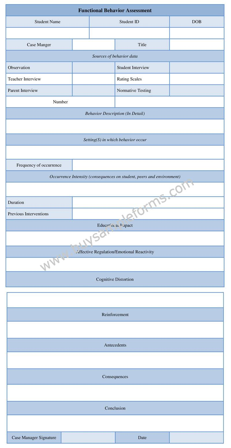 Functional Behavior Assessment Form Example, FBA Word Template