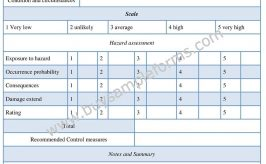 Hazard Assessment Form Template and Example Word Doc