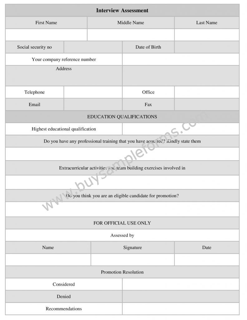 Interview Assessment Form Template, job interview form sample