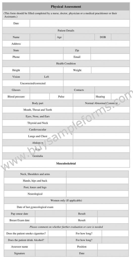 Printable Physical Assessment Form Word Template, Example