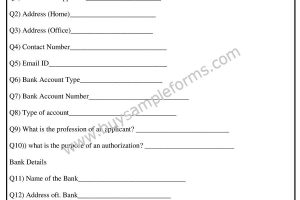 Printable Bank Authorization Form Word Template
