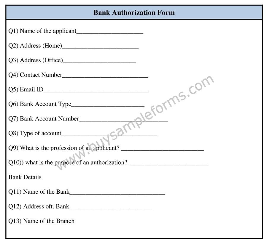 Printable Bank Authorization Form Template