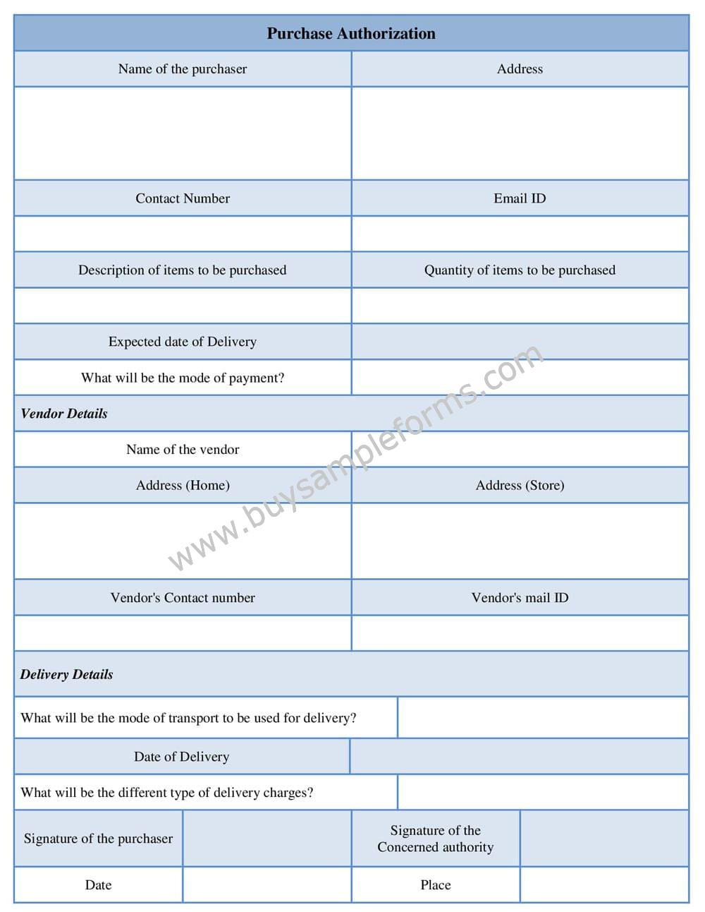 Simple Purchase Authorization Form Template