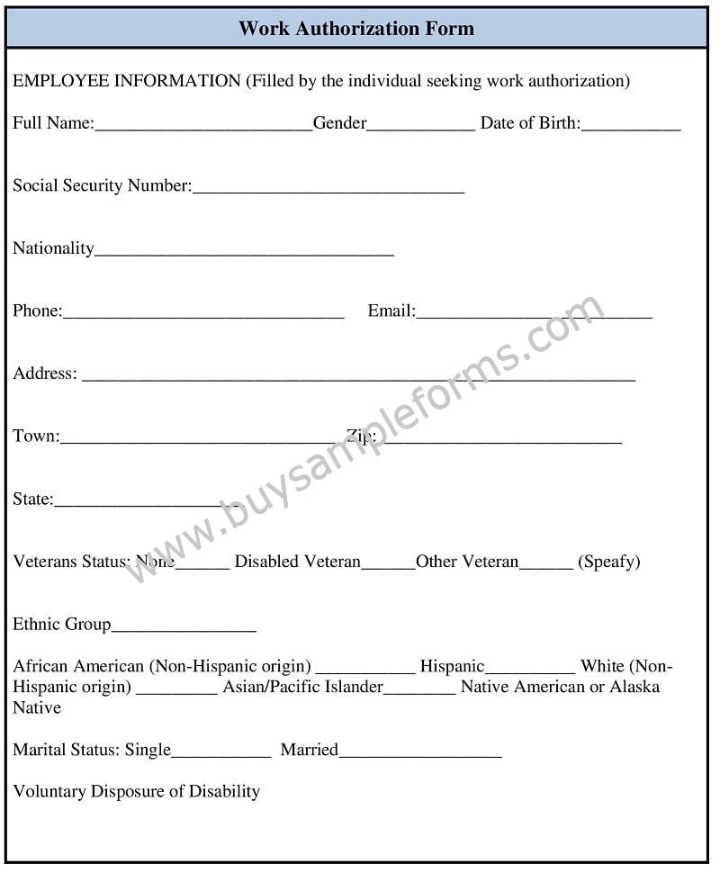Sample Work Authorization Form Template