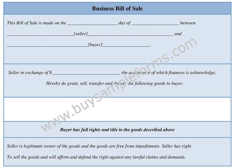 Business Bill of Sale Form Template