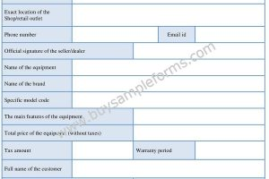 Printable Equipment Bill of Sale Form Template Word