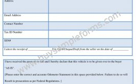 Printable Motor Vehicle Bill of Sale Form Template Word
