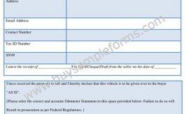 Printable Motor Vehicle Bill of Sale Form Template Word