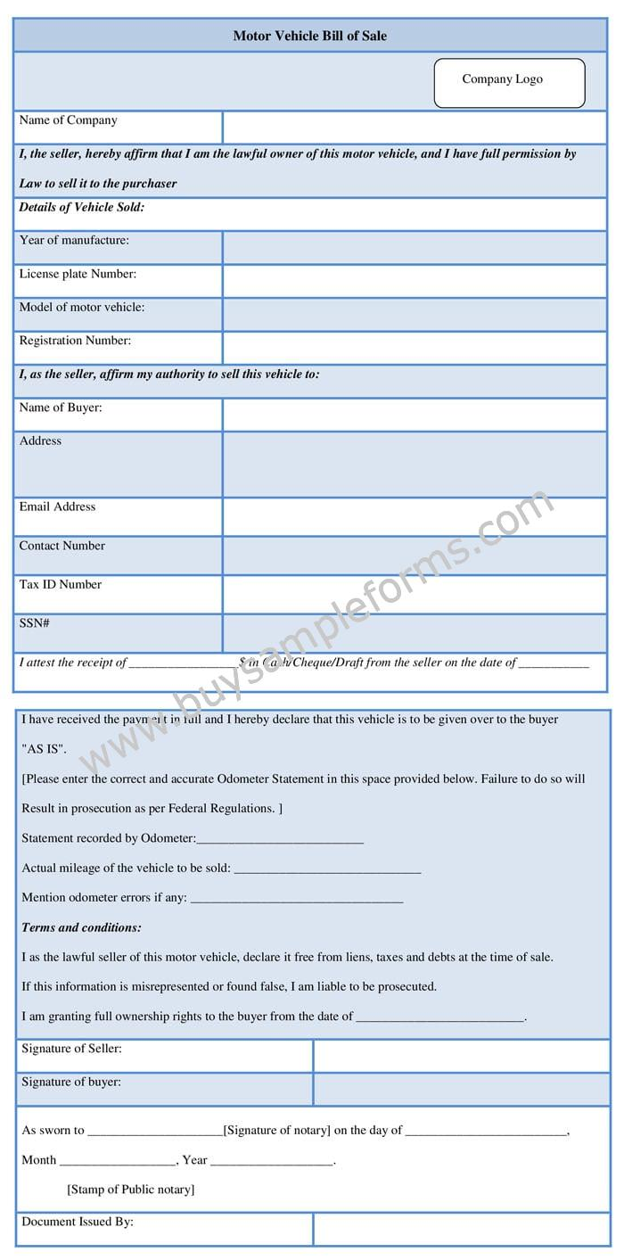 Sample Motor Vehicle Bill of Sale Form Template Word