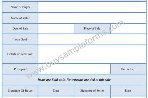 Simple Bill of Sale Form Word Template,  Example