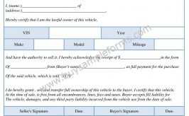 Printable Used Car Bill of Sale Form Template Word | PDF