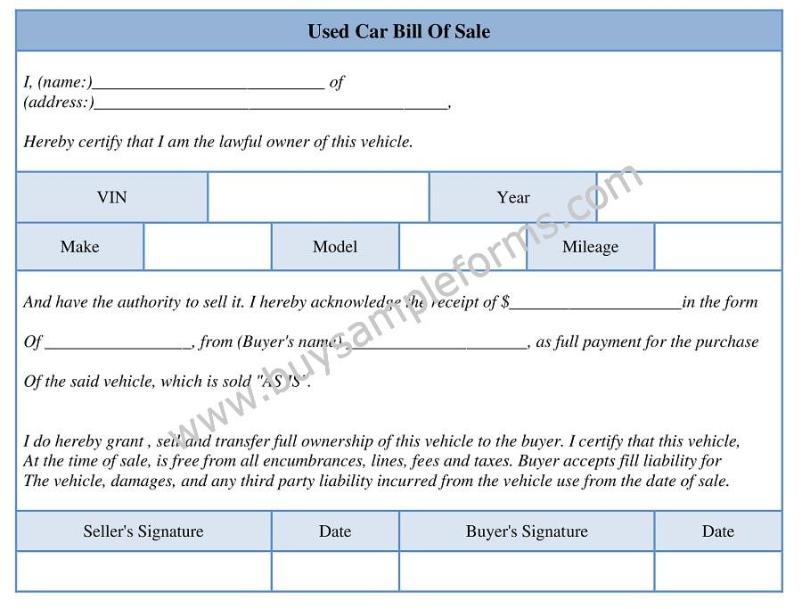 Printable Used Car Bill of Sale Form Template Word