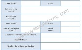 Computer Bill of Sale Form | Word Template