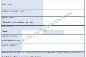 Printable Motorcycle Bill of Sale Form Template