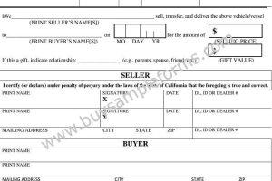 DMV Bill of Sale Form | Bill of Sale Word Template