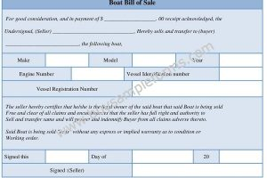 Printable Boat Bill of Sale Form – Word Template