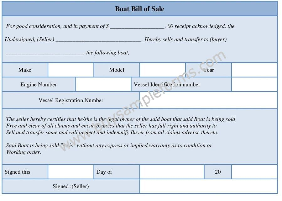 Printable Boat Bill of Sale Form, Bill of Sale Template