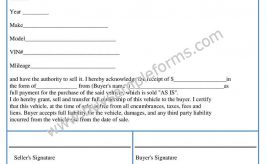 Car Bill of Sale Form | Word Template
