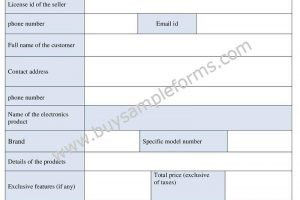 Printable Electronic Bill of Sale Form Template Word