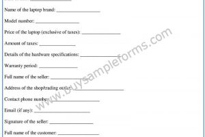 Download a Laptop Bill of Sale Form Template in Word