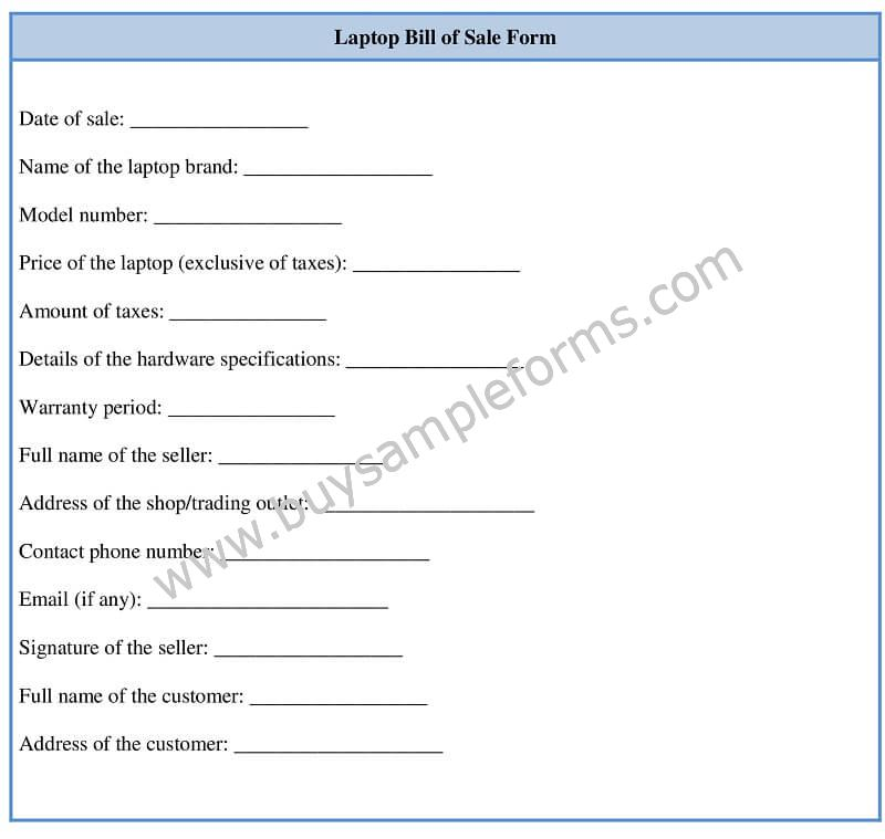 Laptop Bill of Sale Form Template Word