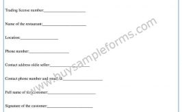 Restaurant Bill of Sale Form Template in Word