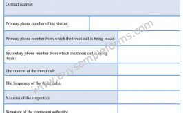 Telephonic Threat Complaint Form Template Word