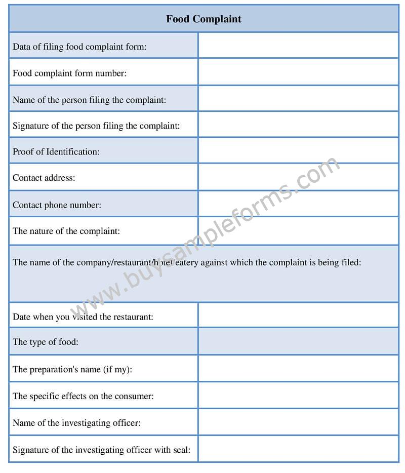 Food Safety Complaint Form Template Word Sample