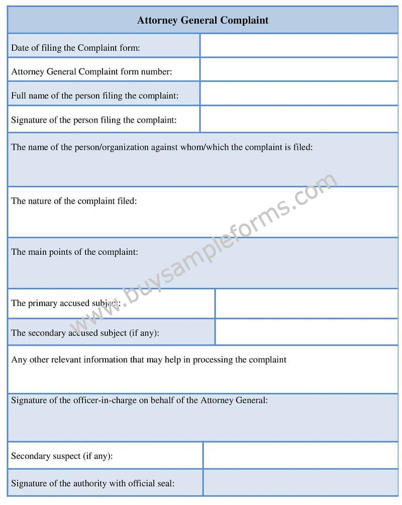Sample Attorney General Complaint Form template