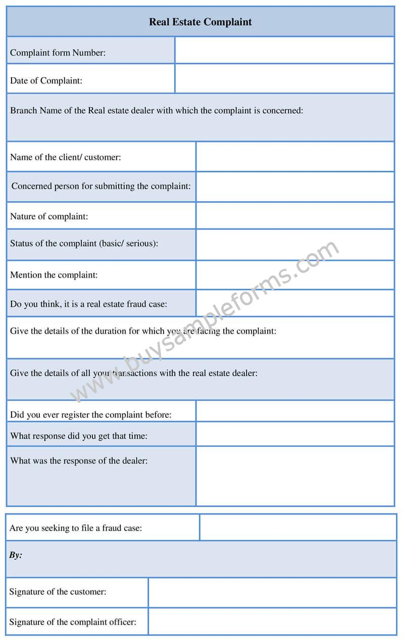 Real Estate Complaint Form Template Word Format