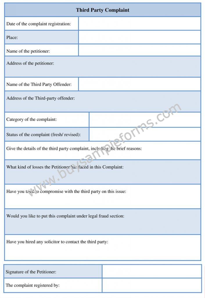 Third Party Complaint Form Example, Word Template