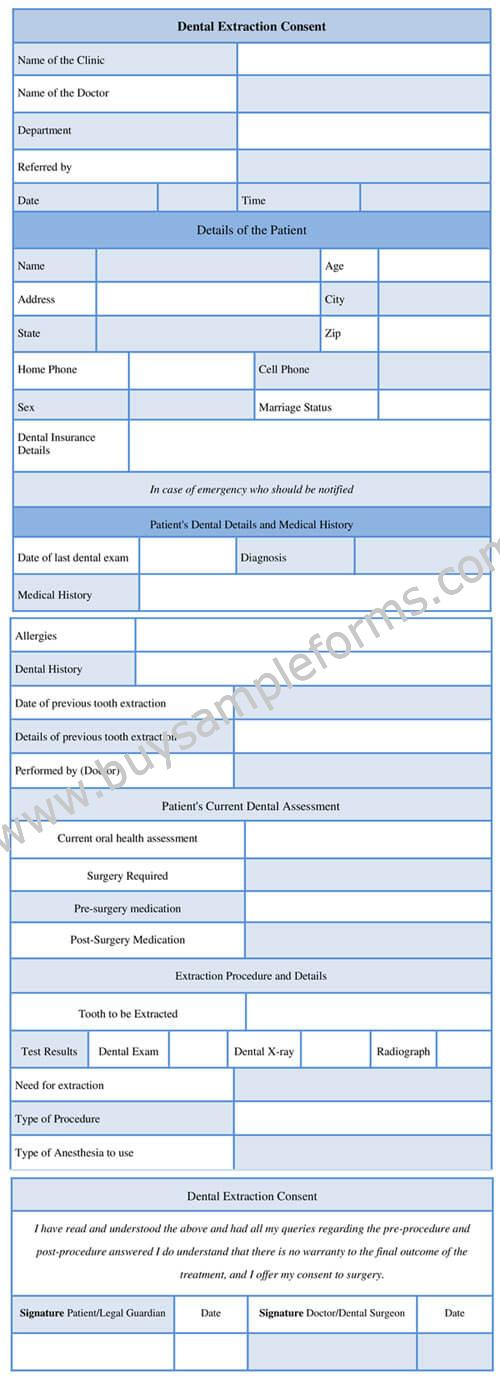 Dental Extraction Consent Form Template Tooth Extraction