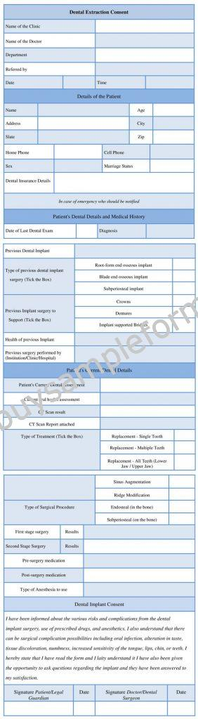 Printable Dental Implant Consent Form Template, Sample, Example