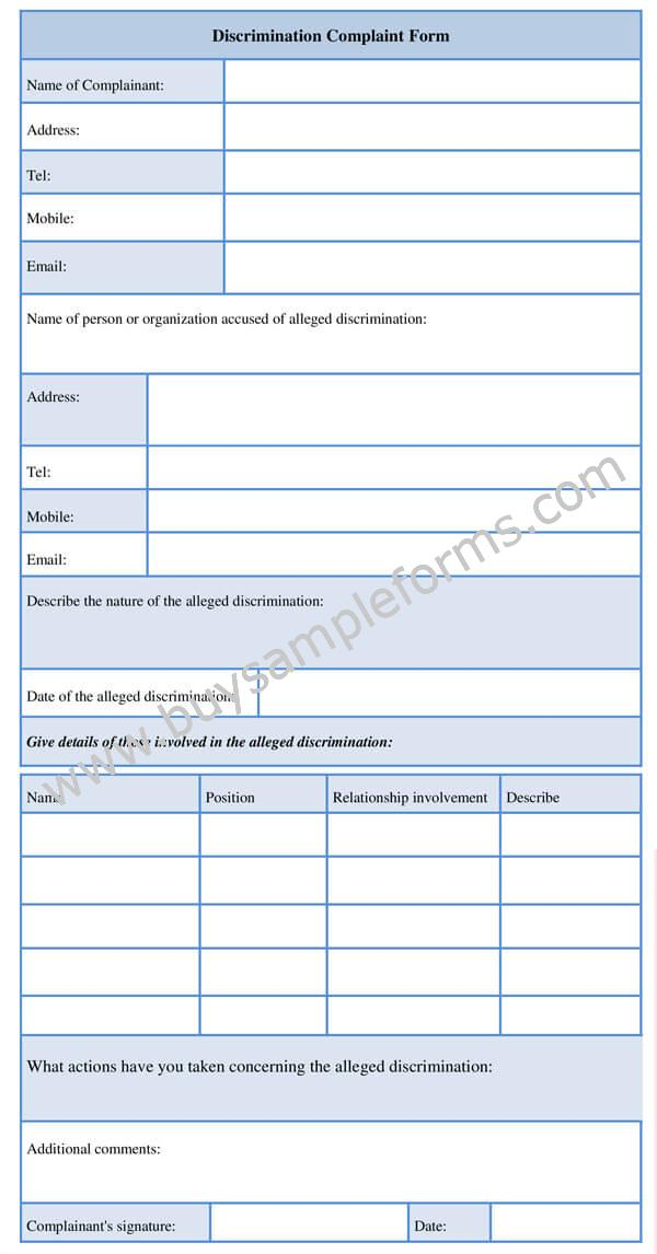 Discrimination and Harassment Complaint Form