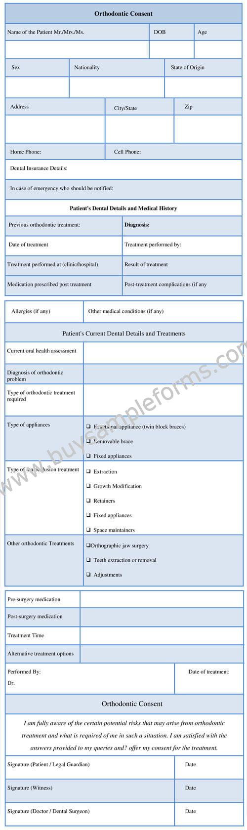 Orthodontic Consent Form Template, Sample